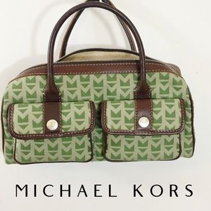 Michael Kors satchel leather rare green 2-tone bag